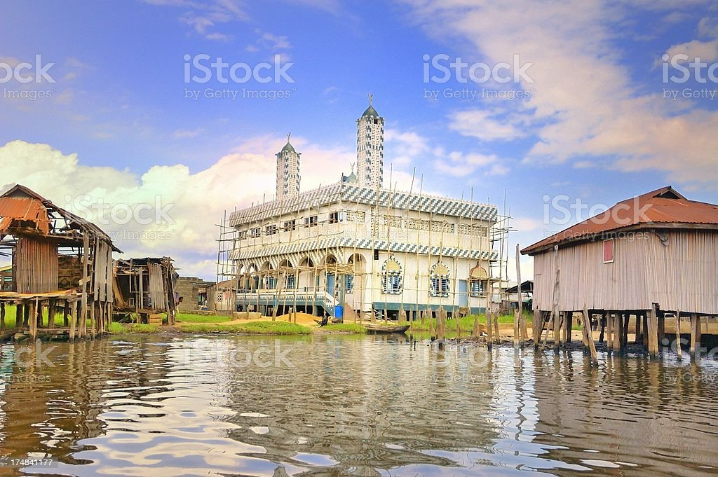 Ganvie Mosque Construction stock photo