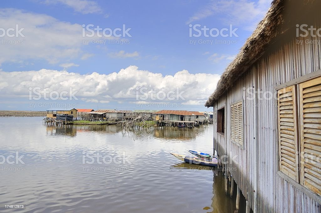 Ganvie Village Scene stock photo