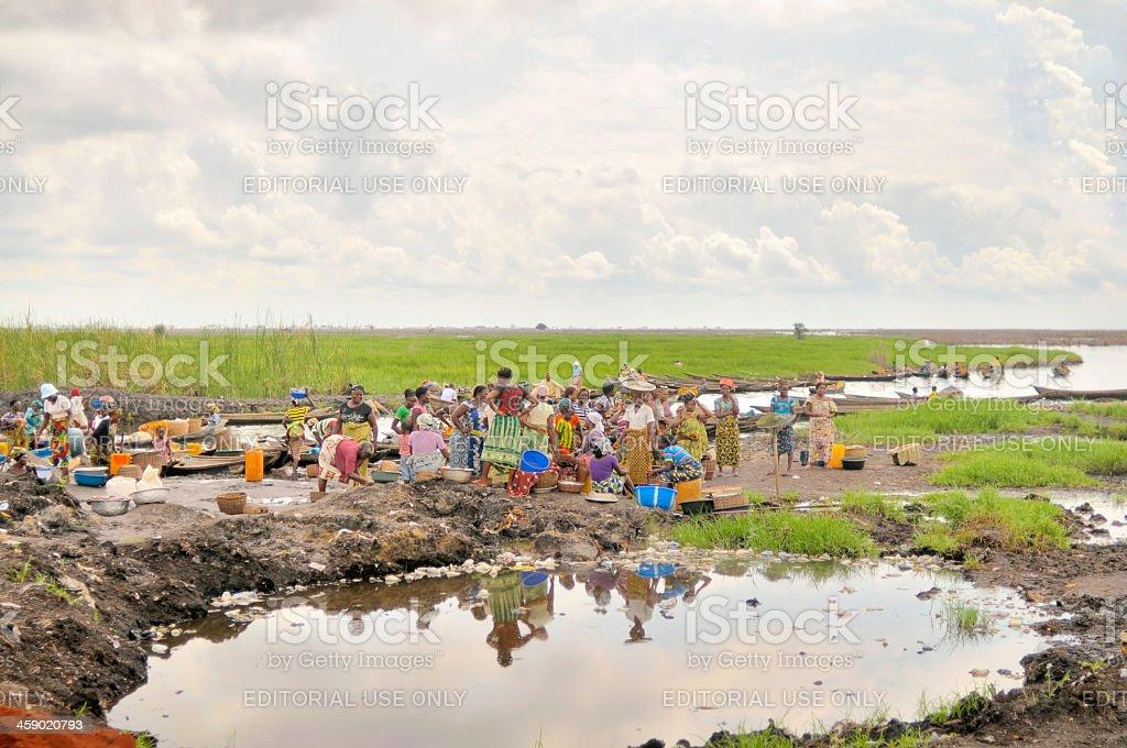 Ganvie Women Waiting For Fish stock photo