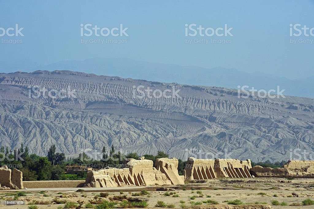 Gaochang ruins in front of mountains stock photo