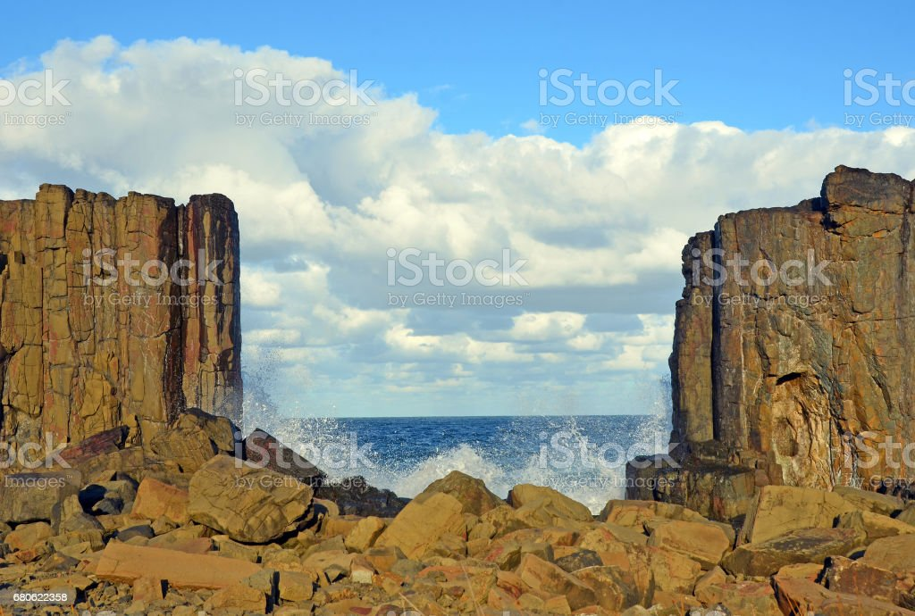 Gap between basalt columns on Bombo headland stock photo