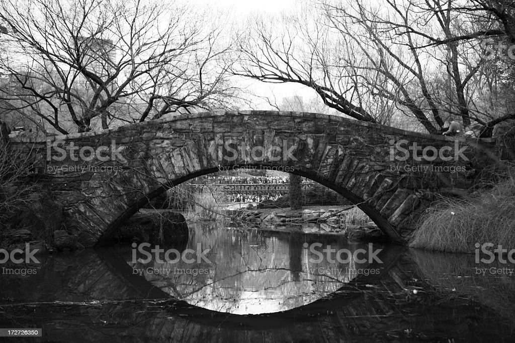 Gapstow bridge in Central Park in black and white royalty-free stock photo