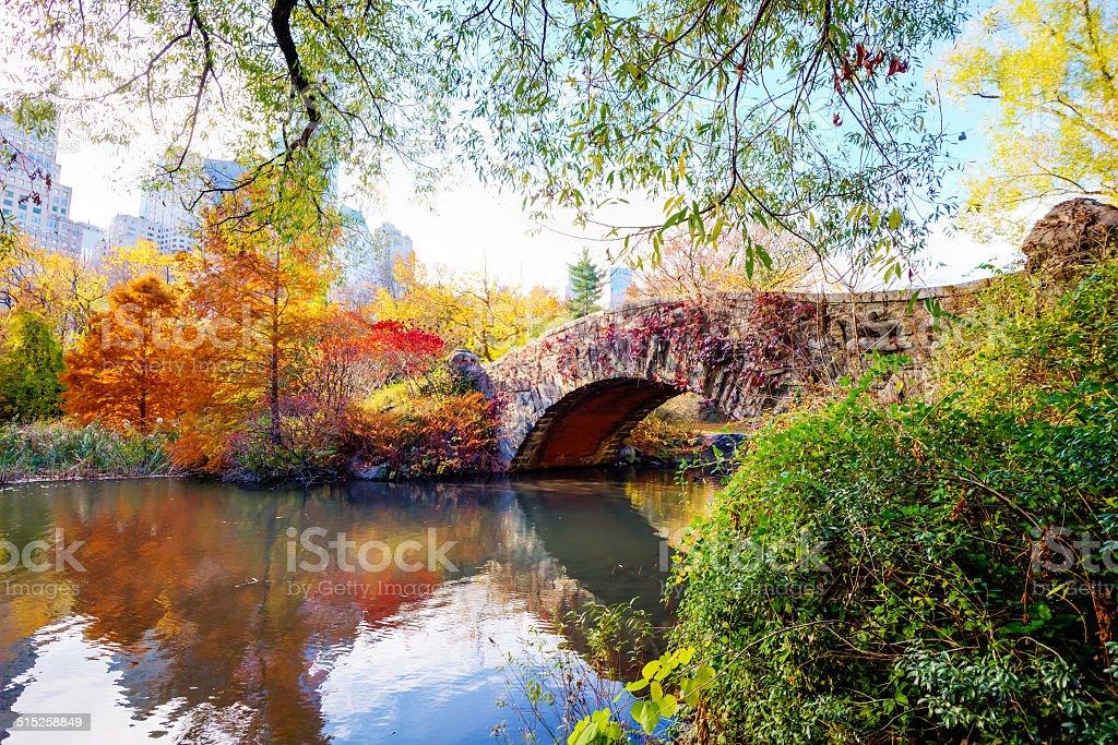 Gapstow Bridge in Central Park on Autumn Day stock photo