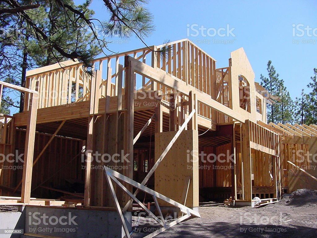 Garage and house framing construction royalty-free stock photo