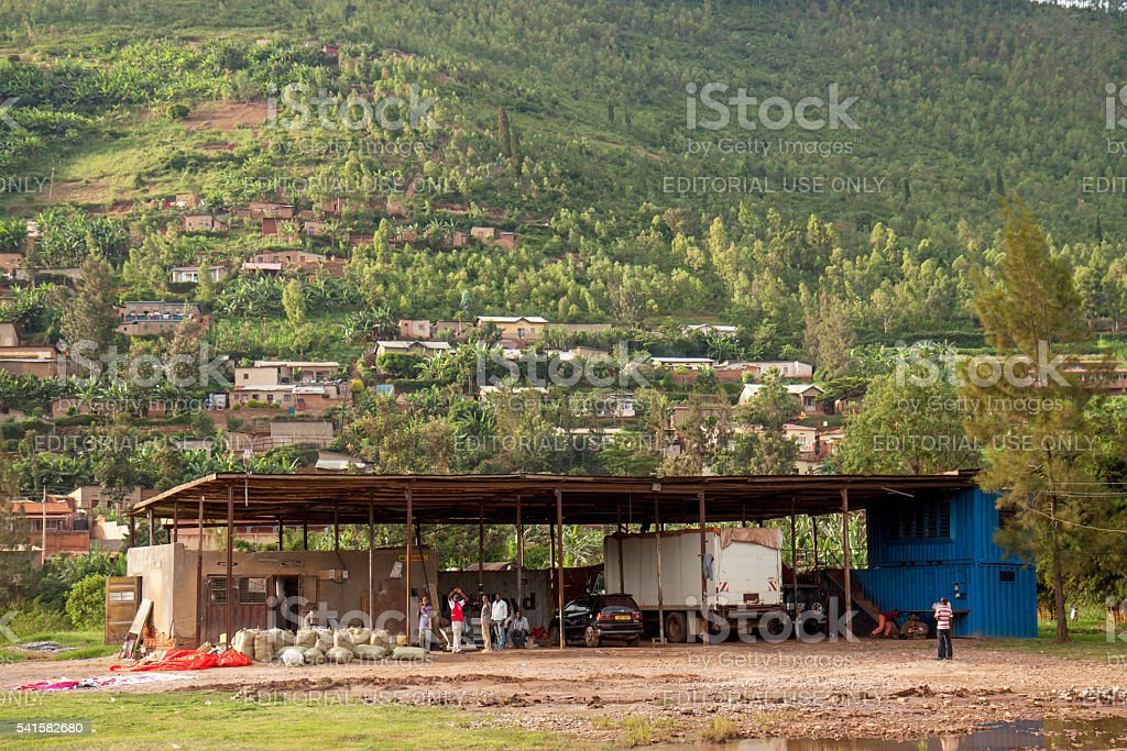 Garage and welding shop in Rwanda stock photo