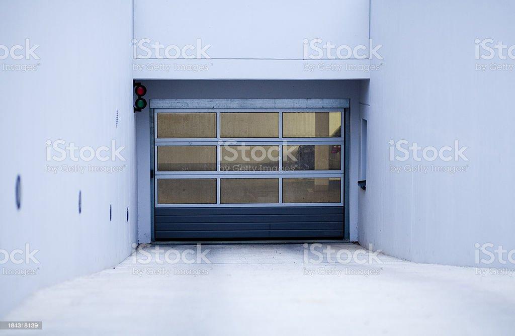 Garage door of a underground car park stock photo