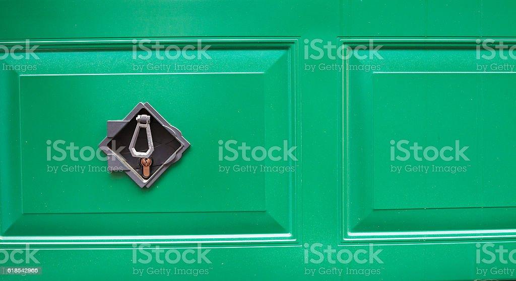 Garage door with lock. stock photo
