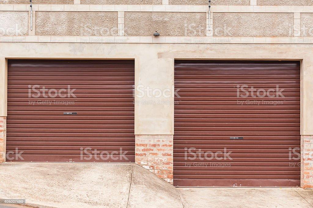 Garage Doors Two Roadside stock photo