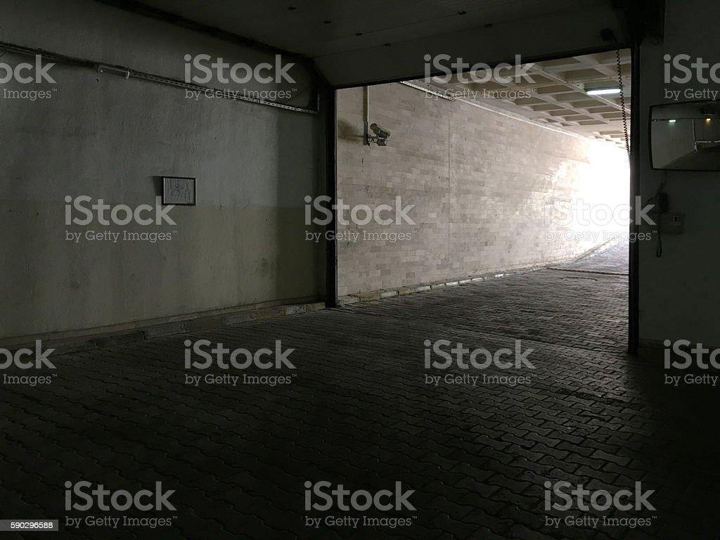 Garage entrance stock photo