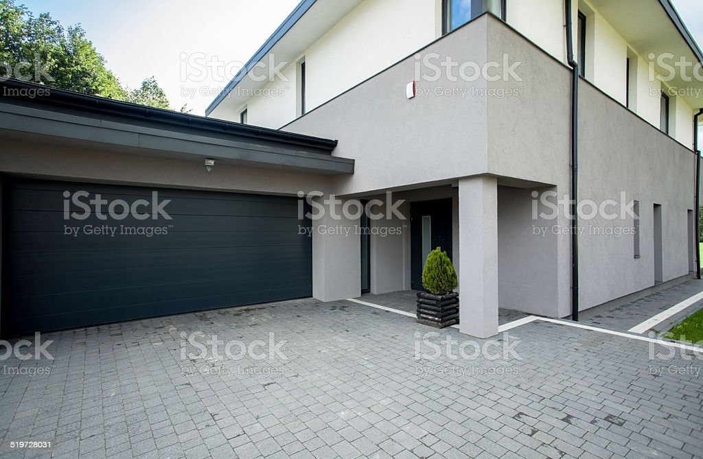 Garage from the outside stock photo