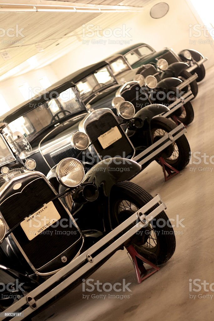 Garage Full of Antique Cars - In a Row stock photo