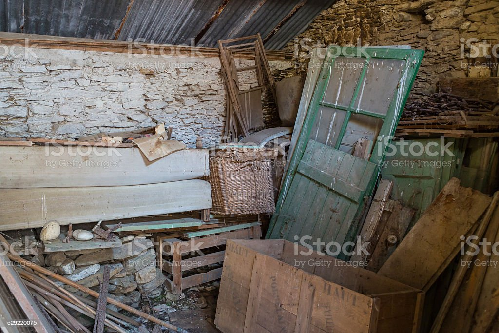 garage of an abandoned house stock photo