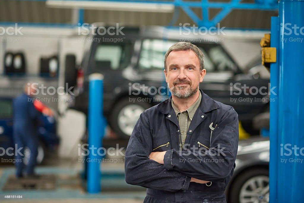 garage owner stock photo