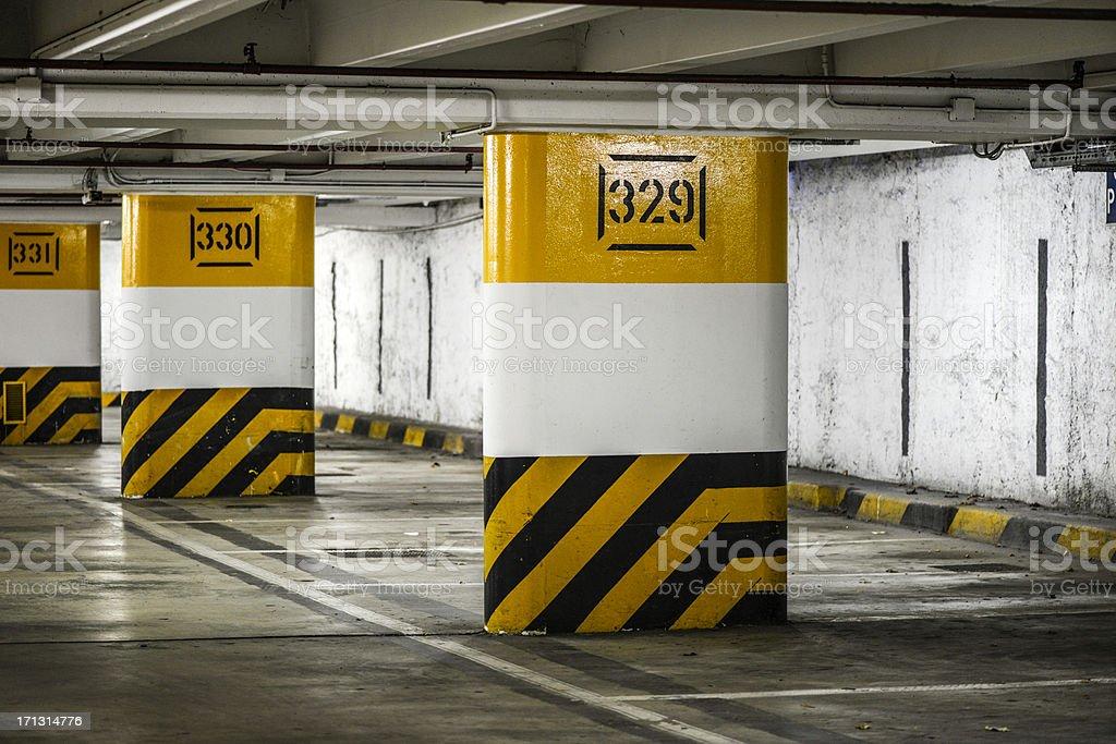 Garage parking lot numbered pillars royalty-free stock photo