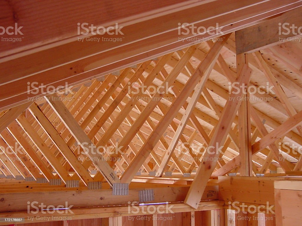 Garage roof trusses royalty-free stock photo