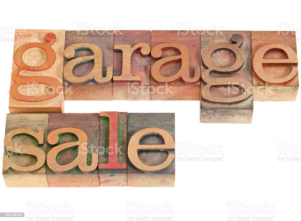 garage sale in letterpress type stock photo
