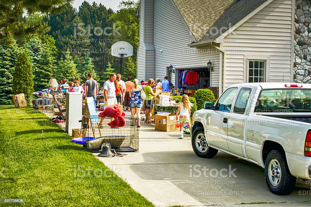 Garage sale on a Saturday morning in Fort Gratiot MI stock photo