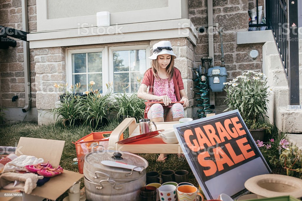 Garage sale stock photo