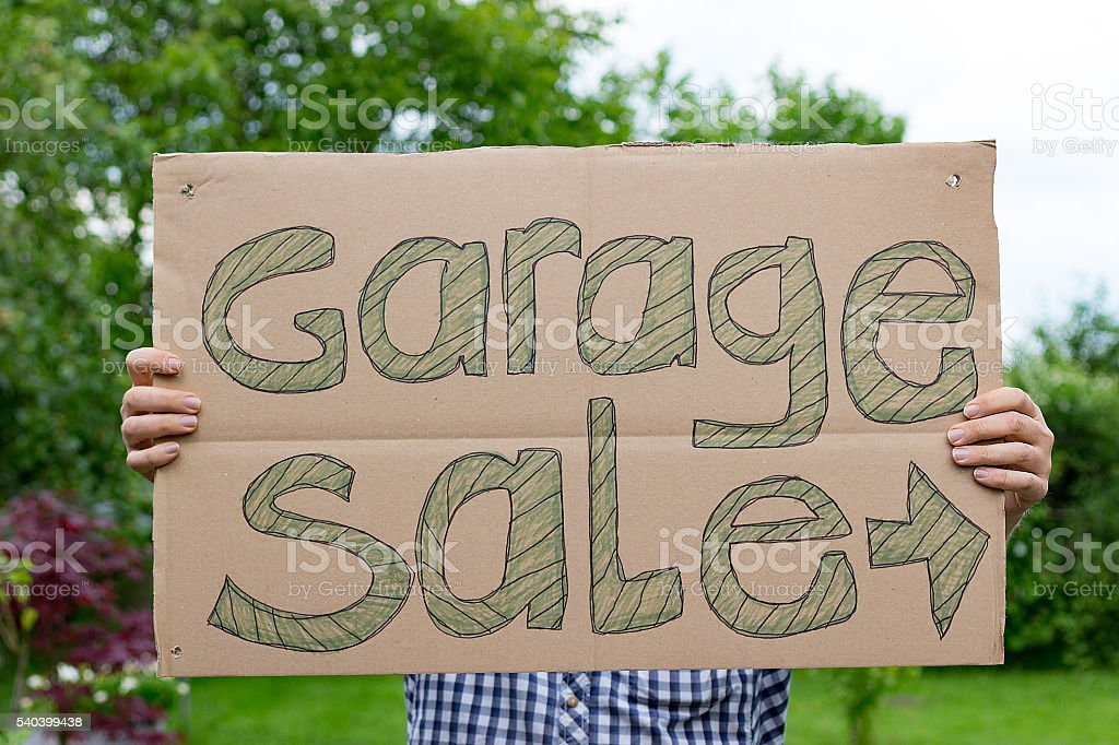 Garage Sale Sign home made stock photo