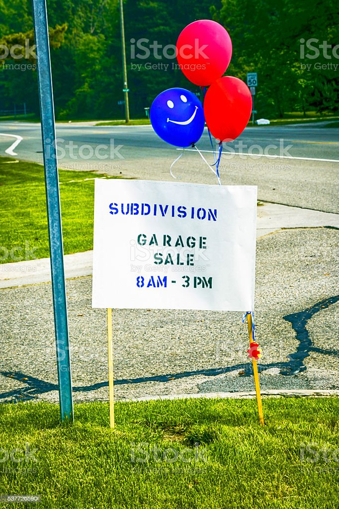 Garage sale sign in Fort Gratiot MI stock photo