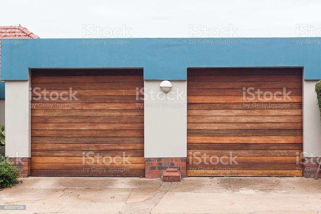 Garage Two Doors stock photo
