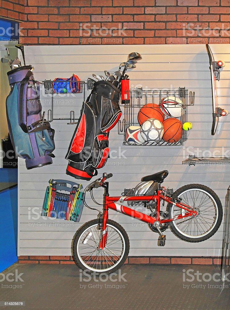 Garage Wall Storage stock photo