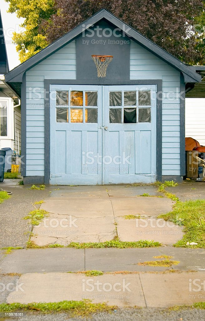 Garage with Basketball Hoop royalty-free stock photo