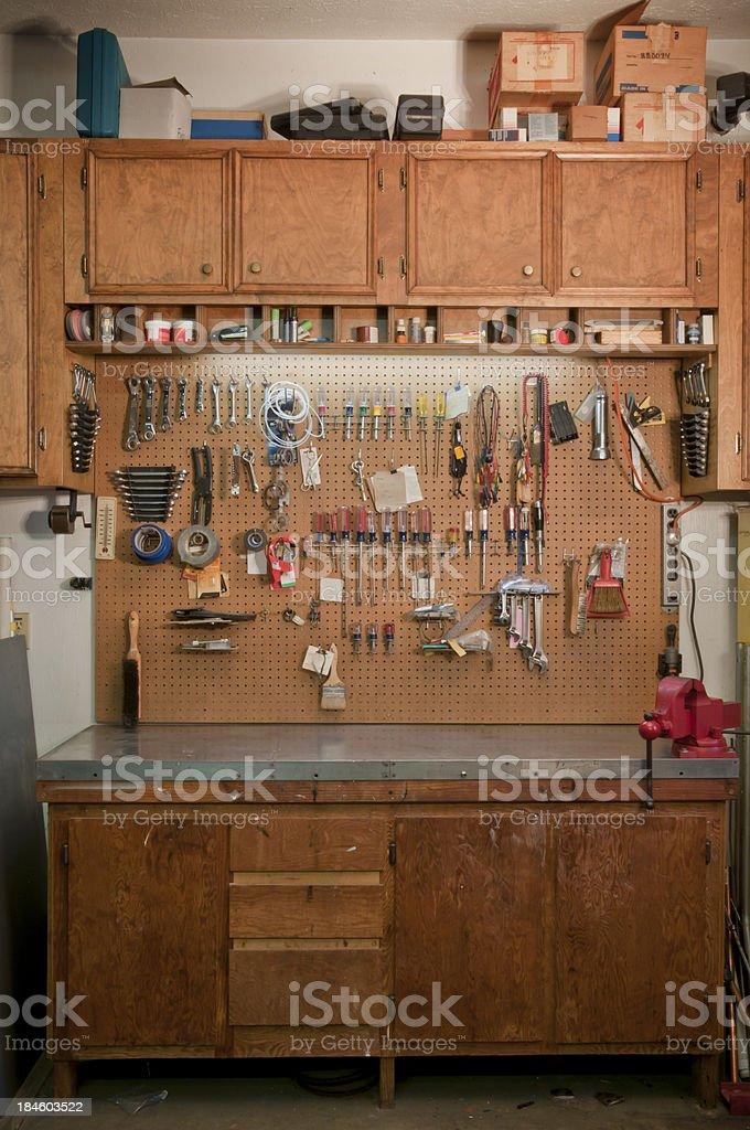 Garage Work Bench stock photo
