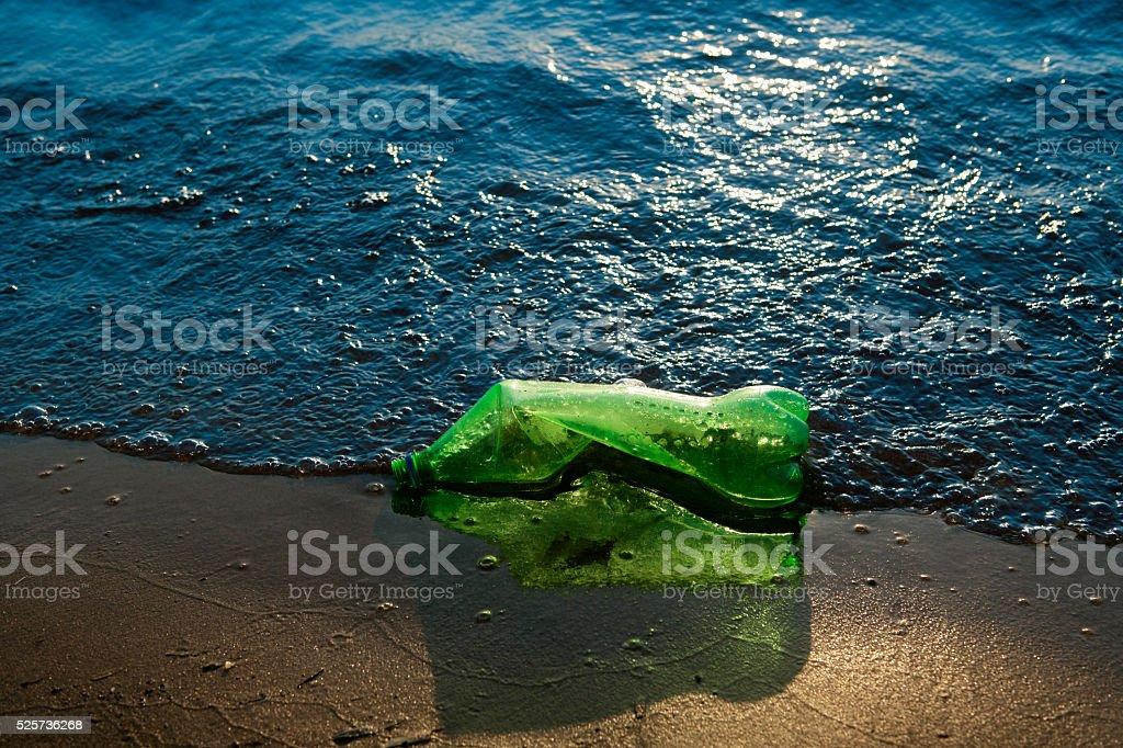 Garbage at the seashore stock photo