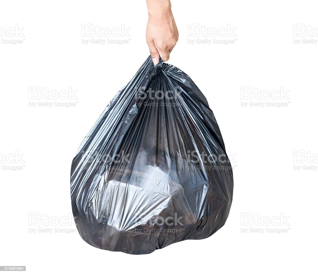Garbage bag isolate on white background.This has clipping path stock photo