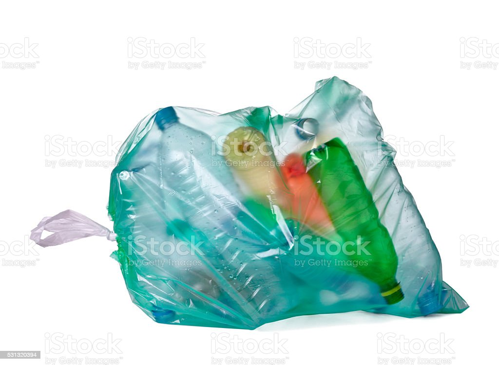 garbage bag with empty bottle trash waste stock photo