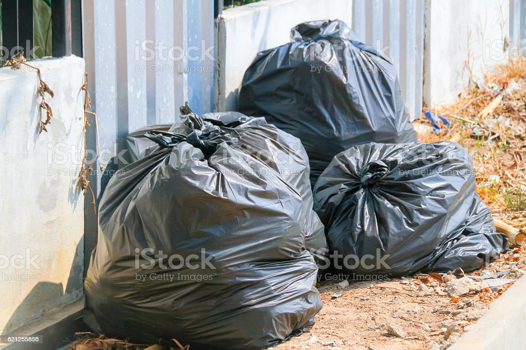 Garbage bags:Keep garbage in bag for eliminate stock photo