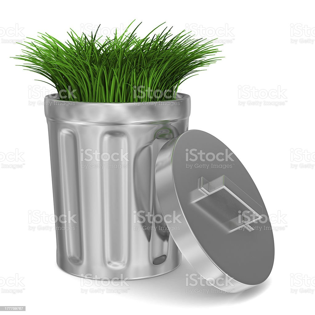 Garbage basket and grass on white background. Isolated 3D image stock photo