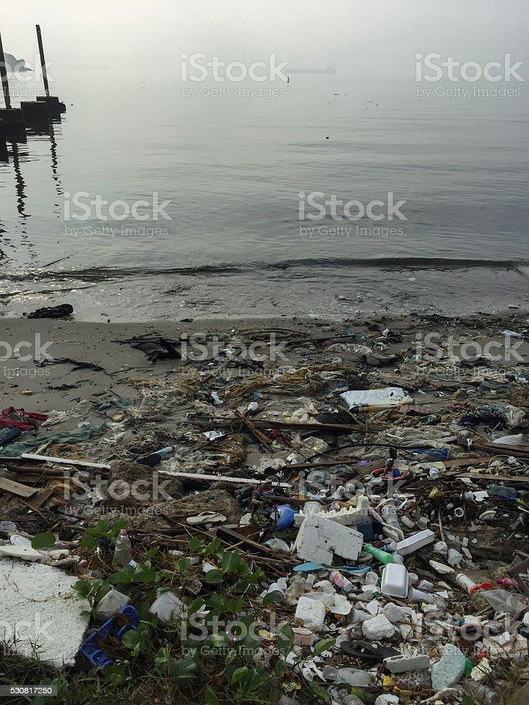 Garbage beach Guanabara bay royalty-free stock photo