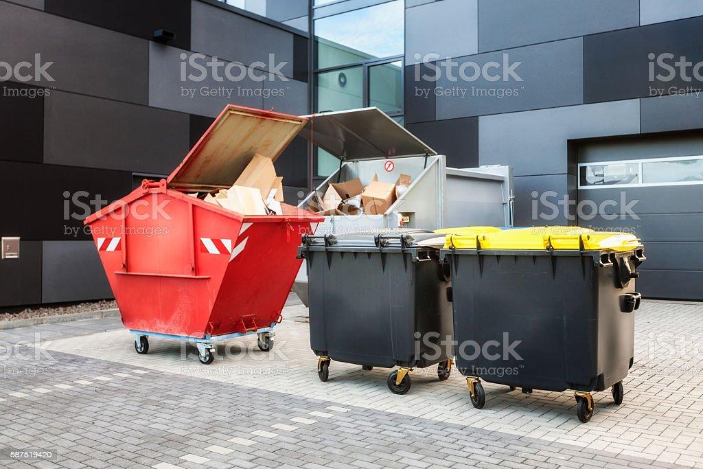 Garbage bins stock photo
