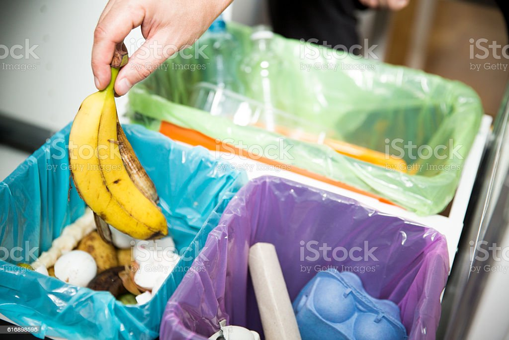 Garbage cans. Recycling concept. stock photo