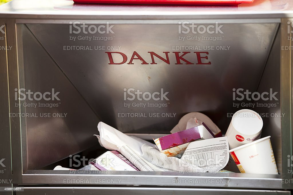 Garbage container opening at a McDonald's stock photo