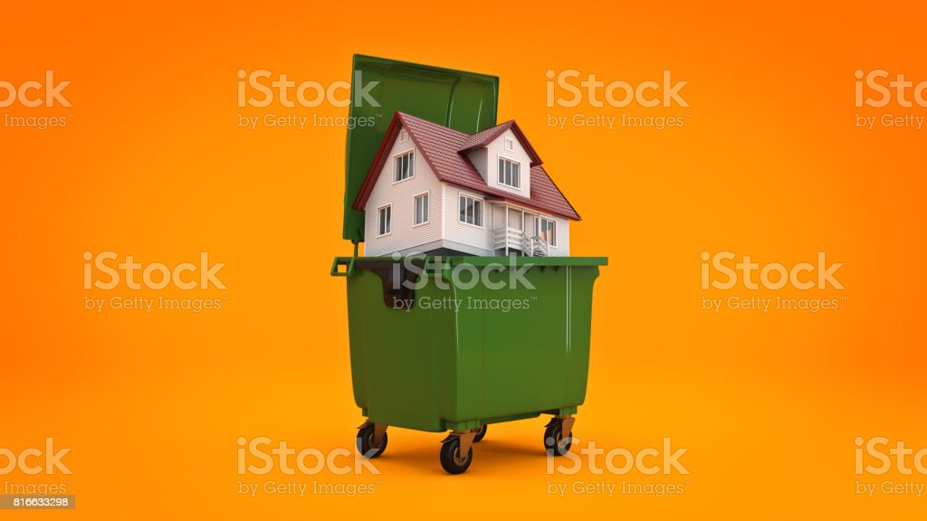 Garbage containers with home. 3d rendering stock photo