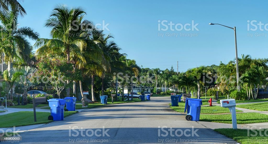 Garbage day in the suburbs stock photo