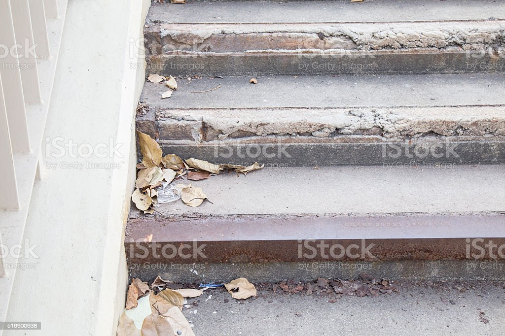 Garbage dry leaf plastic on the stair. stock photo