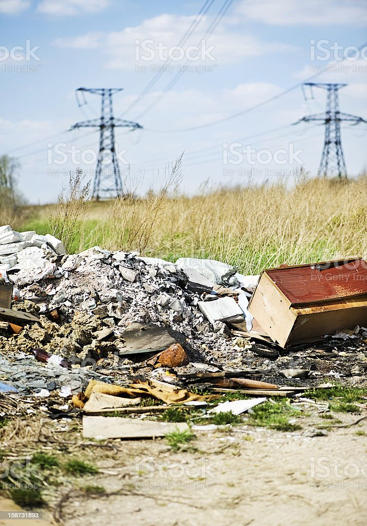 Garbage dump and power lines royalty-free stock photo