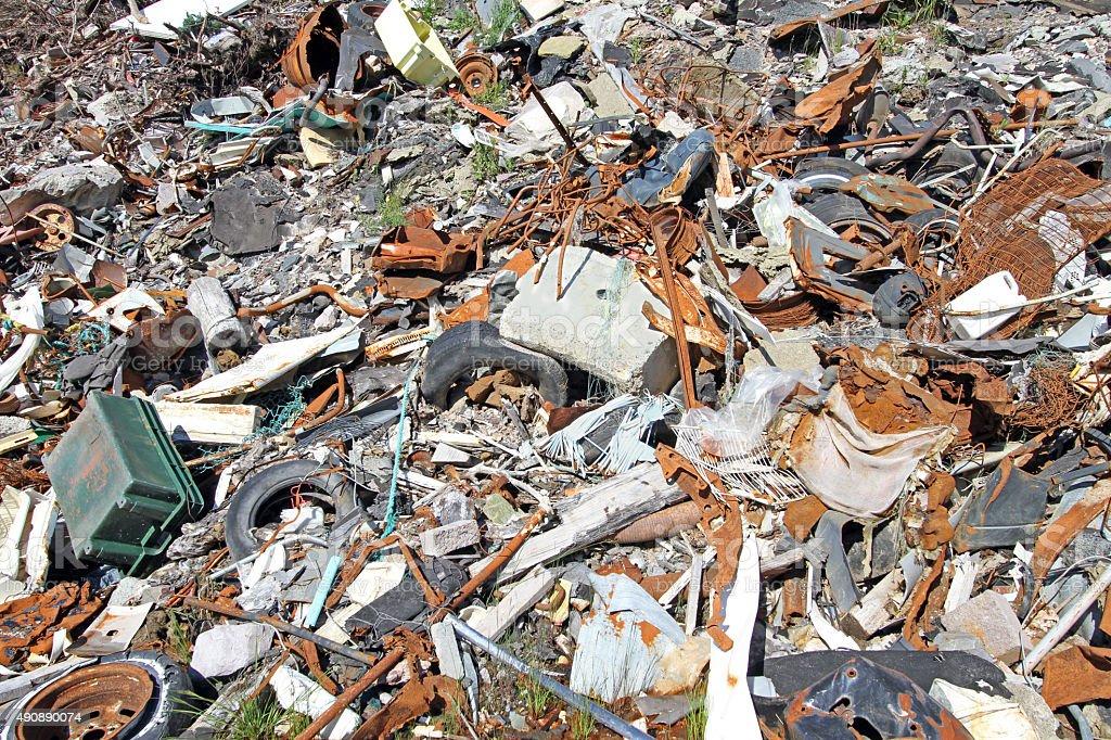 Garbage Dump Closeup, An Environmental Eyesore stock photo