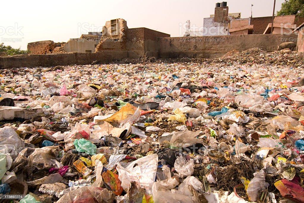Garbage dump set in urban area royalty-free stock photo