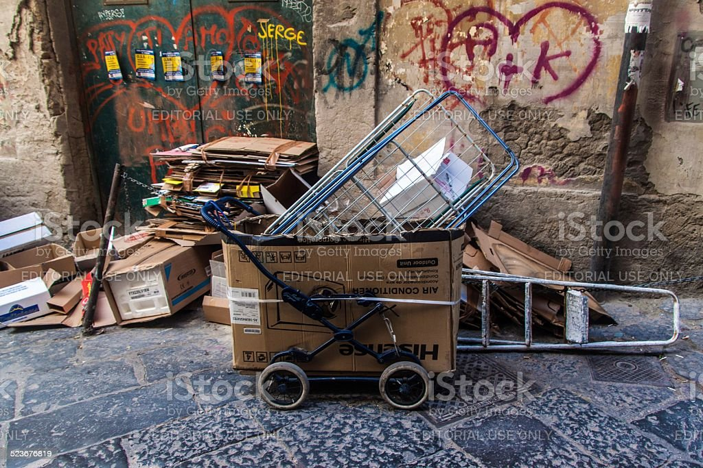 Garbage dumped at the side of street stock photo