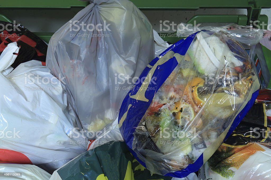 Garbage in a residential recycle room stock photo