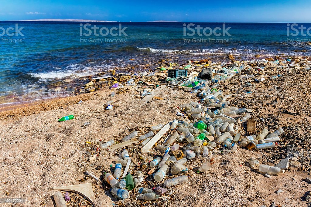 Garbage in the Beach stock photo