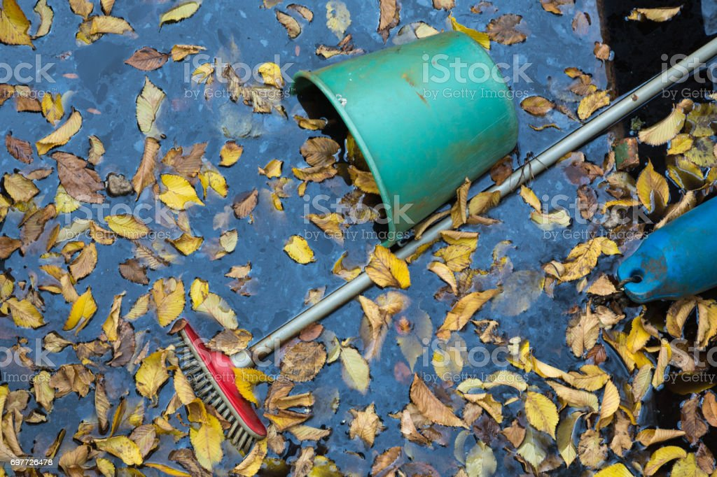Garbage in the water. stock photo