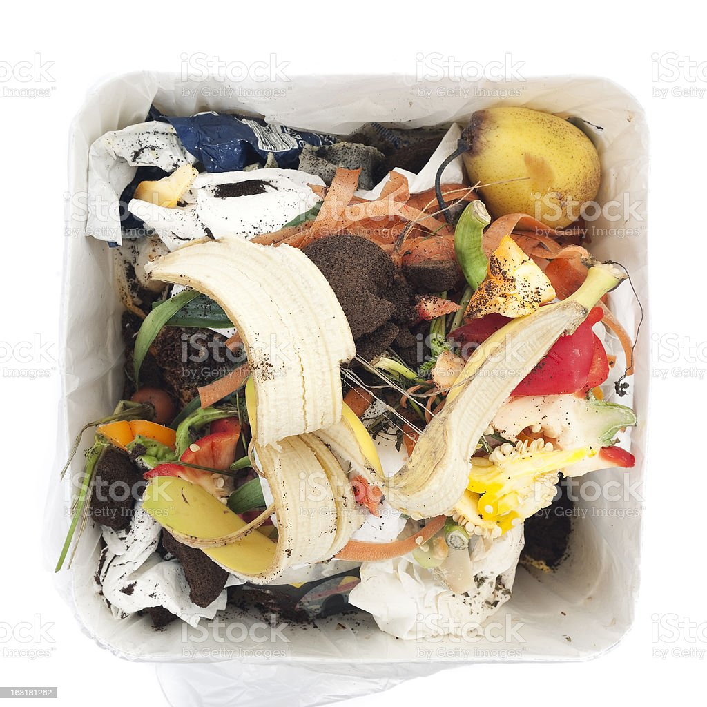 Garbage in white trash can royalty-free stock photo