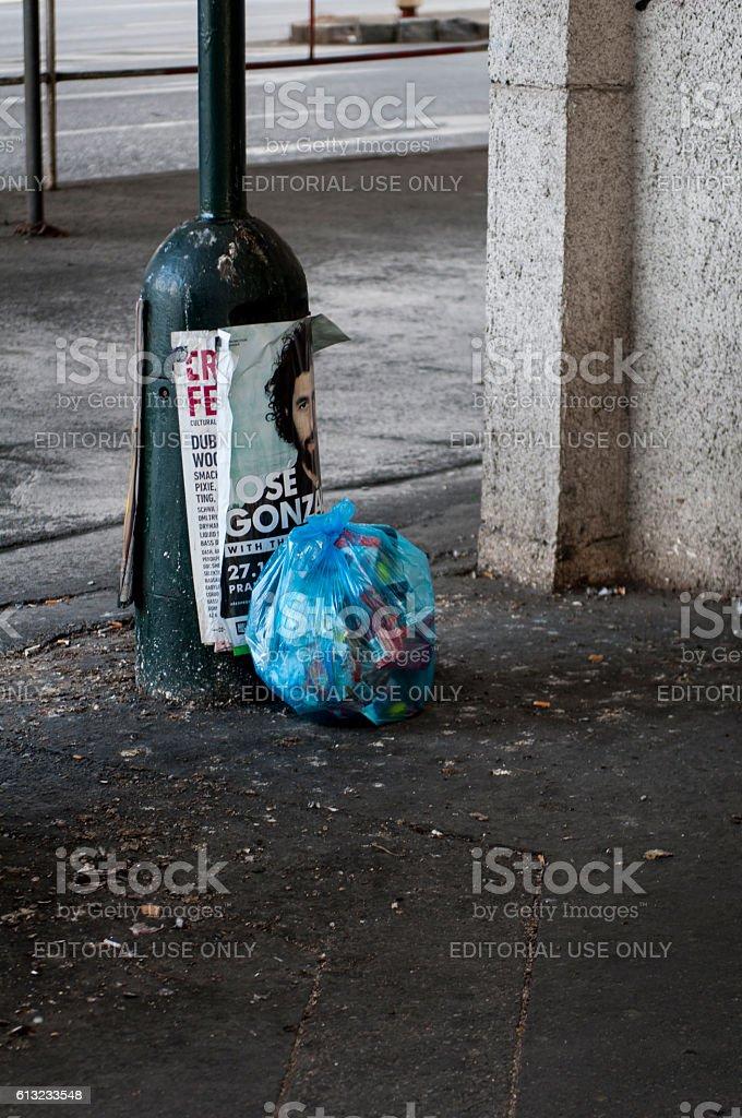 Garbage on street stock photo