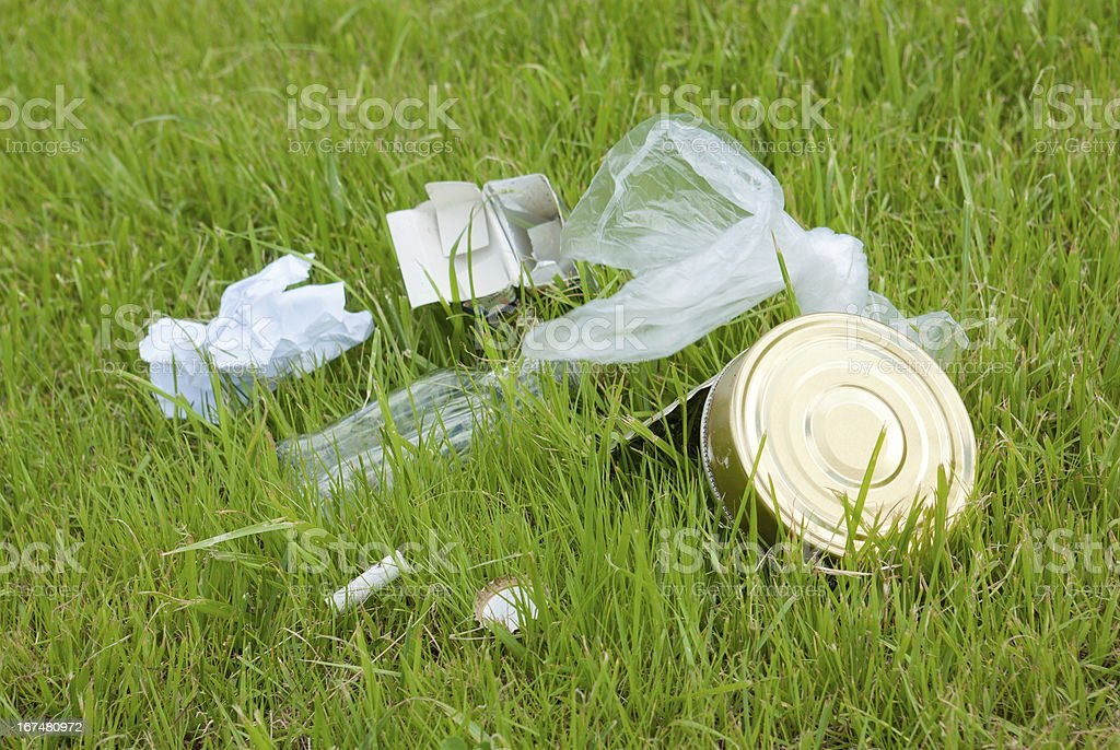 Garbage on the green lawn. Environmental pollution royalty-free stock photo
